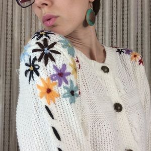 Anthropologie Sweaters - Snidel Rainbow Embroider Cable Knit Cardigan